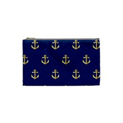 Gold Anchors On Blue Background Pattern Cosmetic Bag (small)  by Simbadda