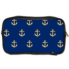 Gold Anchors On Blue Background Pattern Toiletries Bags 2 Side by Simbadda