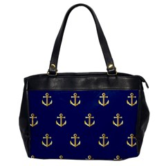 Gold Anchors On Blue Background Pattern Office Handbags by Simbadda