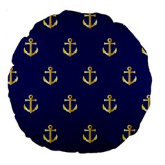 Gold Anchors On Blue Background Pattern Large 18  Premium Round Cushions by Simbadda