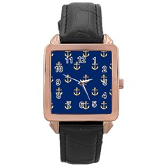 Gold Anchors On Blue Background Pattern Rose Gold Leather Watch  by Simbadda
