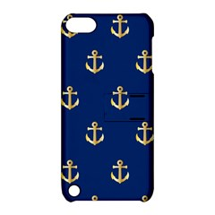 Gold Anchors On Blue Background Pattern Apple Ipod Touch 5 Hardshell Case With Stand by Simbadda