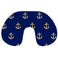 Gold Anchors On Blue Background Pattern Travel Neck Pillows by Simbadda