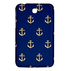 Gold Anchors On Blue Background Pattern Samsung Galaxy Tab 3 (7 ) P3200 Hardshell Case  by Simbadda