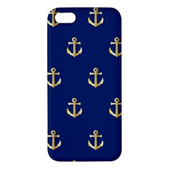 Gold Anchors On Blue Background Pattern Iphone 5s/ Se Premium Hardshell Case by Simbadda