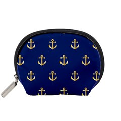 Gold Anchors On Blue Background Pattern Accessory Pouches (small)  by Simbadda