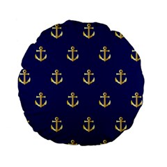 Gold Anchors On Blue Background Pattern Standard 15  Premium Flano Round Cushions by Simbadda