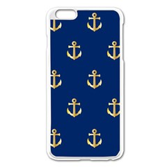 Gold Anchors On Blue Background Pattern Apple Iphone 6 Plus/6s Plus Enamel White Case by Simbadda