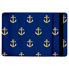 Gold Anchors On Blue Background Pattern Ipad Air 2 Flip