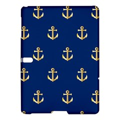 Gold Anchors On Blue Background Pattern Samsung Galaxy Tab S (10 5 ) Hardshell Case  by Simbadda