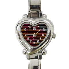 Colorful Venetian Blinds Effect Heart Italian Charm Watch by Simbadda
