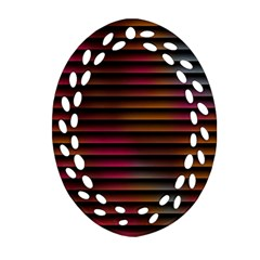 Colorful Venetian Blinds Effect Oval Filigree Ornament (two Sides) by Simbadda