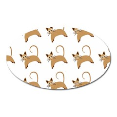 Cute Cats Seamless Wallpaper Background Pattern Oval Magnet by Simbadda