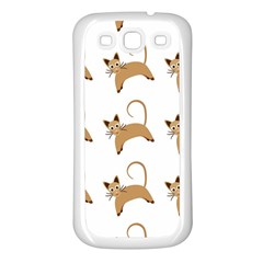 Cute Cats Seamless Wallpaper Background Pattern Samsung Galaxy S3 Back Case (White)