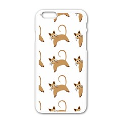 Cute Cats Seamless Wallpaper Background Pattern Apple Iphone 6/6s White Enamel Case by Simbadda