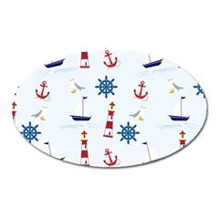 Seaside Nautical Themed Pattern Seamless Wallpaper Background Oval Magnet by Simbadda