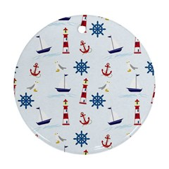 Seaside Nautical Themed Pattern Seamless Wallpaper Background Round Ornament (two Sides) by Simbadda