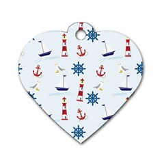 Seaside Nautical Themed Pattern Seamless Wallpaper Background Dog Tag Heart (one Side) by Simbadda