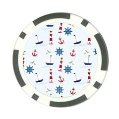 Seaside Nautical Themed Pattern Seamless Wallpaper Background Poker Chip Card Guard by Simbadda