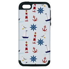 Seaside Nautical Themed Pattern Seamless Wallpaper Background Apple Iphone 5 Hardshell Case (pc+silicone) by Simbadda
