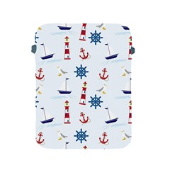 Seaside Nautical Themed Pattern Seamless Wallpaper Background Apple Ipad 2/3/4 Protective Soft Cases by Simbadda