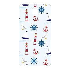 Seaside Nautical Themed Pattern Seamless Wallpaper Background Samsung Galaxy Note 3 N9005 Hardshell Back Case by Simbadda