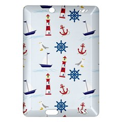Seaside Nautical Themed Pattern Seamless Wallpaper Background Amazon Kindle Fire Hd (2013) Hardshell Case by Simbadda