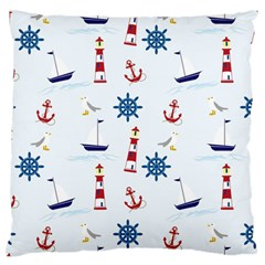 Seaside Nautical Themed Pattern Seamless Wallpaper Background Standard Flano Cushion Case (two Sides) by Simbadda
