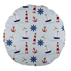 Seaside Nautical Themed Pattern Seamless Wallpaper Background Large 18  Premium Flano Round Cushions by Simbadda