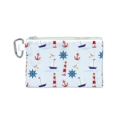 Seaside Nautical Themed Pattern Seamless Wallpaper Background Canvas Cosmetic Bag (s) by Simbadda