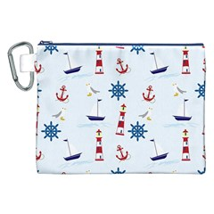 Seaside Nautical Themed Pattern Seamless Wallpaper Background Canvas Cosmetic Bag (xxl) by Simbadda