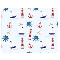 Seaside Nautical Themed Pattern Seamless Wallpaper Background Double Sided Flano Blanket (medium)  by Simbadda