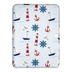 Seaside Nautical Themed Pattern Seamless Wallpaper Background Samsung Galaxy Tab 4 (10 1 ) Hardshell Case  by Simbadda