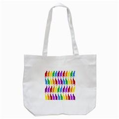 Rainbow Colorful Cats Wallpaper Pattern Tote Bag (white) by Simbadda