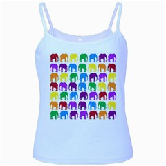 Rainbow Colors Bright Colorful Elephants Wallpaper Background Baby Blue Spaghetti Tank by Simbadda