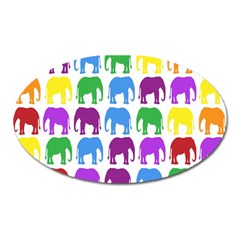 Rainbow Colors Bright Colorful Elephants Wallpaper Background Oval Magnet by Simbadda