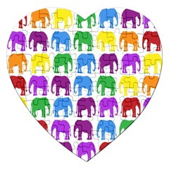 Rainbow Colors Bright Colorful Elephants Wallpaper Background Jigsaw Puzzle (heart) by Simbadda