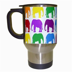 Rainbow Colors Bright Colorful Elephants Wallpaper Background Travel Mugs (white) by Simbadda