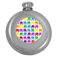 Rainbow Colors Bright Colorful Elephants Wallpaper Background Round Hip Flask (5 Oz) by Simbadda
