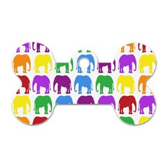 Rainbow Colors Bright Colorful Elephants Wallpaper Background Dog Tag Bone (two Sides)