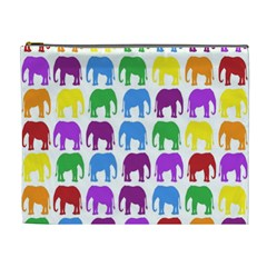 Rainbow Colors Bright Colorful Elephants Wallpaper Background Cosmetic Bag (xl) by Simbadda