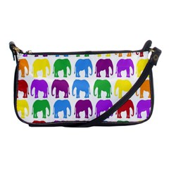 Rainbow Colors Bright Colorful Elephants Wallpaper Background Shoulder Clutch Bags by Simbadda
