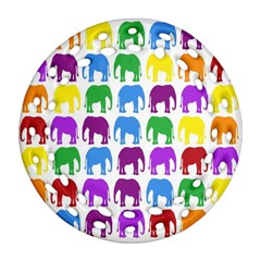 Rainbow Colors Bright Colorful Elephants Wallpaper Background Ornament (round Filigree) by Simbadda