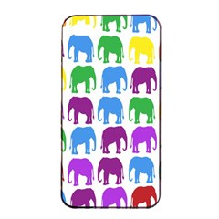 Rainbow Colors Bright Colorful Elephants Wallpaper Background Apple Iphone 4/4s Seamless Case (black) by Simbadda