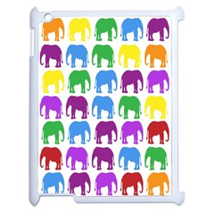 Rainbow Colors Bright Colorful Elephants Wallpaper Background Apple Ipad 2 Case (white) by Simbadda