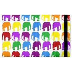 Rainbow Colors Bright Colorful Elephants Wallpaper Background Apple Ipad 2 Flip Case by Simbadda
