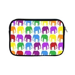 Rainbow Colors Bright Colorful Elephants Wallpaper Background Apple Ipad Mini Zipper Cases by Simbadda