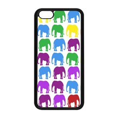 Rainbow Colors Bright Colorful Elephants Wallpaper Background Apple Iphone 5c Seamless Case (black) by Simbadda
