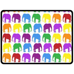Rainbow Colors Bright Colorful Elephants Wallpaper Background Double Sided Fleece Blanket (large)  by Simbadda