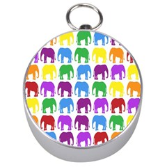Rainbow Colors Bright Colorful Elephants Wallpaper Background Silver Compasses by Simbadda